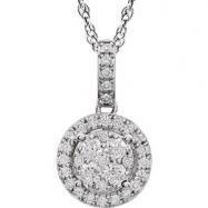 "14kt White NECKLACE Complete with Stone ROUND VARIOUS Diamond Polished 1/2CTW DIAMOND 18"" NCK"