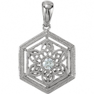 14kt White Pendant Complete with Stone ROUND 02.30 MM Diamond Polished .05 CTW DIAMOND PENDANT