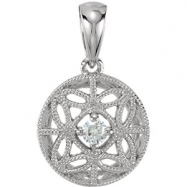 14kt White Pendant Complete with Stone ROUND 02.90 MM Diamond Polished 1/10 CT TW DIAMOND PENDANT