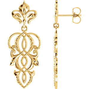 14kt Yellow EARRING Complete No Setting NONE Pair Polished METAL FASHION DANGLE EARRING. Price: $545.50