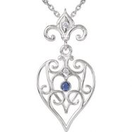 Sterling Silver NECKLACE Complete with Stone 18.00 INCH ROUND VARIOUS SAPPHIRE AND DIAMOND Polished
