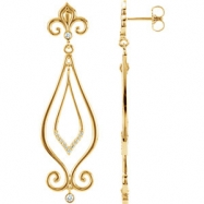 EARRINGS NONE ROUND VARIOUS Diamond NONE Complete with Stone 14kt Yellow Polished 1/6CTW DIAMOND EAR