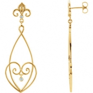 EARRING NONE ROUND VARIOUS Diamond NONE Complete with Stone 14kt Yellow Polished 1/10CTW DIAMOND EAR