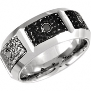Cobalt 09.50 10.00 MM POLISHED CASTED BAND .24CTW BLACK DIAM