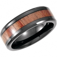 Cobalt 12.00 08.00 MM BLACK PVD Casted Band with Rose Wood Inlay