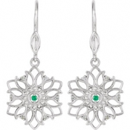 EARRING PAIR ROUND 01.60 MM EMERALD & DIAMOND NONE Complete with Stone Sterling Silver Polished .06