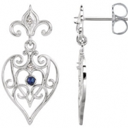 EARRING PAIR ROUND VARIOUS SAPPHIRE NONE Complete with Stone Sterling Silver & 14kt White Polished G