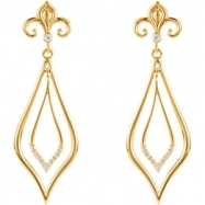 EARRINGS NONE ROUND VARIOUS Diamond NONE Complete with Stone 14kt Yellow Polished 1/10CTW DIAMOND EA
