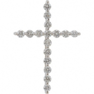 14kt White Mounting .33 CT TW Cross Pendant Mounting