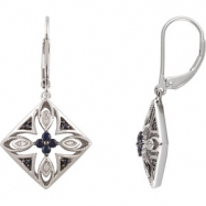 EARRINGS NONE ROUND VARIOUS SAPPHIRE NONE Complete with Stone Sterling Silver Polished SAPPHIRE AND