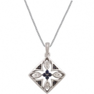 Sterling Silver NECKLACE Complete with Stone ROUND VARIOUS SAPPHIRE Polished SAPPHIRE & .025CTW DIA