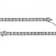 Sterling Silver BRACELET Complete with Stone 07.50 INCH Polished 1/4 CTW DIAMOND TENNIS BRC
