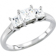 10kt White Engagement Semi-Mount with Head SI2-SI3 Square 03.50X03.50 MM Polished 1/3 CTW SEMI-MOUNT