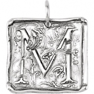 Sterling Silver M Polished POSH VINTAGE INITIAL PENDANT