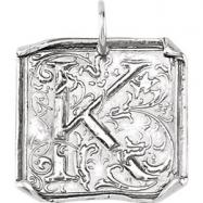 Sterling Silver K Polished POSH VINTAGE INITIAL PENDANT