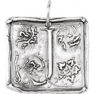 Sterling Silver J Polished POSH VINTAGE INITIAL PENDANT