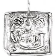 Sterling Silver G Polished POSH VINTAGE INITIAL PENDANT