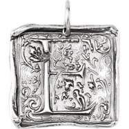Sterling Silver E Polished POSH VINTAGE INITIAL PENDANT