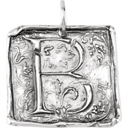 Sterling Silver B Polished POSH VINTAGE INITIAL PENDANT