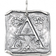 Sterling Silver A Polished POSH VINTAGE INITIAL PENDANT