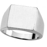 Sterling Silver 13.50X14.00 MM Polished GENTS SIGNET RING W/BRUSH FINI