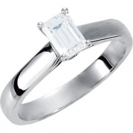 Platinum Engagement Complete with Stone SI2-SI3 Emerald 07.00X05.00 MM Cubic Zirconia Polished .05CT