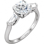 Continuum Sterling Silver Engagement Complete with Stone Round 05.20 MM NONE Polished 1/4CTW DIA ENG
