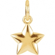 14kt Rose Charm with Jump Ring Complete No Setting 15.50X08.90 mm Polished Posh Mommy Star Charm wit