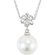 14kt White NECKLACE Complete with Stone 18.00 INCH DROP 07.50 PEARL Polished .05CTW DIA & FREWAT CUL
