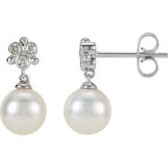 14kt White EARRINGS Complete with Stone NONE ROUND 07.00 MM PEARL Polished .08CTW FRWA CUL PRL & DIA