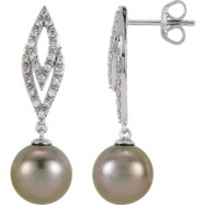EARRING NONE ROUND 09.00 MM PEARL NONE Complete with Stone 14kt White Polished 1/4 CTW DIA AND TAHIT
