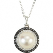 14kt White NECKLACE Complete with Stone 18.00 INCH DROP 08.00 MM PEARL Polished 1/4CTW DIA AND PEARL