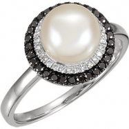 14kt White Ring Complete with Stone 07.00 NONE Round 08.00 MM NONE Polished PEARL AND 1/4CTW DIA RIN