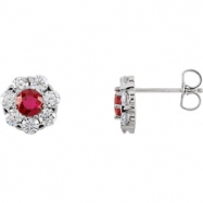 14kt White Complete with Stone Ruby 04.50 mm Pair Polished Ruby and 1 1/8 CTW Diamond Earrings