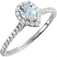 14kt White Ring Complete with Stone NONE Pear 06.00X04.00 MM NONE Polished 3/8CTW DIA & AQUAMARINE R