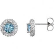 14kt White Aquamarine Pair Aquamarine and 3/8 CTW Diamond Earrings