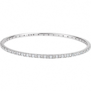 Sterling Silver BRACELET Complete with Stone 03.00 MM ROUND 02.00 MM CUBIC ZIRCONIA Polished BANGLE