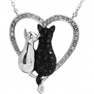 Sterling Silver NECKLACE Complete with Stone ROUND VARIOUS BLACK & WHITE DIAMOND Polished 1/5CTW BL&
