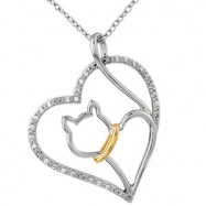 Sterling Silver/10kt Yellow NECKLACE Complete with Stone ROUND 00.90 MM Diamond Polished 1/10CTW DIA