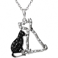 Sterling Silver NECKLACE Complete with Stone ROUND VARIOUS BLACK & WHITE DIAMONDS Polished 1/4CTW DI