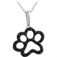 Sterling Silver NECKLACE Complete with Stone ROUND 01.30 MM BLACK DIAMOND Polished 1/3CTW BLACK DIA