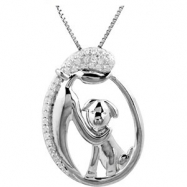 Sterling Silver NECKLACE Complete with Stone ROUND 00.90 MM Diamond Polished 1/10CTW DIA LADY & PUP