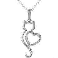 """10kt White NECKLACE Complete with Stone ROUND 00.90 MM Diamond Polished .05CTW DIA CAT W/HEART 18"""" N"""