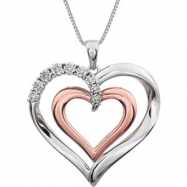 Sterling Silver/Rose Gold Plated NECKLACE Complete with Stone 18.00 INCH ROUND VARIOUS Diamond Polis