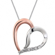 Sterling Silver/Rose Gold Plated NECKLACE COMPELTE WITH STONE 18.00 INCH ROUND 01.00 MM Diamond Poli