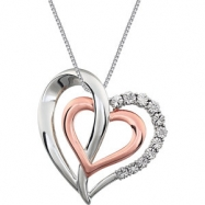 Sterling Silver/Rose Gold Plated NECKLACE Complete with Stone 18.00 INCH ROUND 01.00 MM Diamond Poli
