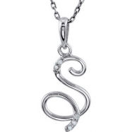 Necklace S Round 01.00 mm Diamond I2 Complete with Stone Sterling Silver Polished .03CTW DIA 18 INCH