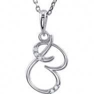 Necklace B Round 01.00 mm Diamond I2 Complete with Stone Sterling Silver Polished .03CTW DIA 18 INCH
