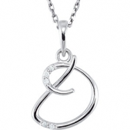 Necklace D Round 01.00 mm Diamond I2 Complete with Stone Sterling Silver Polished .03CTW DIA 18 INCH