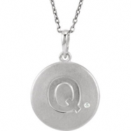 Sterling Silver Necklace Complete with Stone Q Diamond Polished 34 Inch .005CT Diamond Necklace